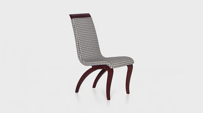 An Italian inspired, contemporary dining chair with an organic design and curving legs made out of medium mahogany. It features a deep seat and high back upholstered in a grey houndstooth fabric.