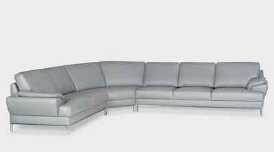 An Italian inspired, light grey, leather corner sofa with silver steel legs and wide arms.
