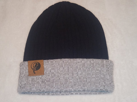Black and Stone Ribbed Beanie
