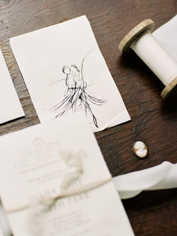 Wedding stationery tied with ivory plant dyed silk ribbon