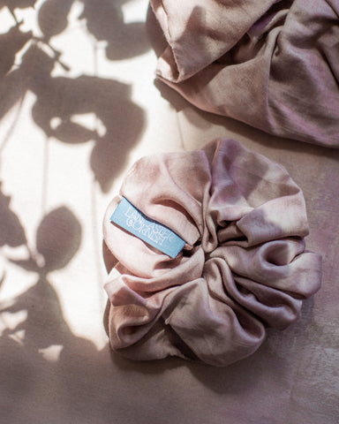 Pale pink large scrunchie with leaf shadows