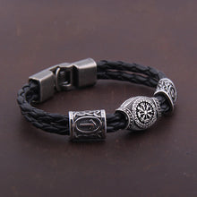 Load image into Gallery viewer, Side view of Silver plated Rune Bracelet/armband Vegvisir Viking Compass