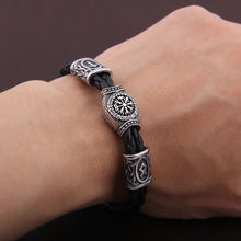 Load image into Gallery viewer, Photo of person wearing Silver plated Rune Bracelet/armband Vegvisir Viking Compass