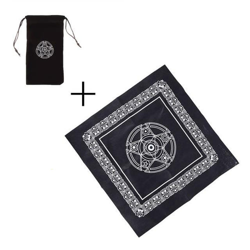 Picture of small black Tarot Card bag and table cloth with matching star in silver
