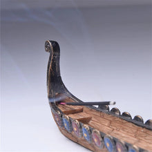 Load image into Gallery viewer, Photo of Viking ship incense holder close up of rear section with incense