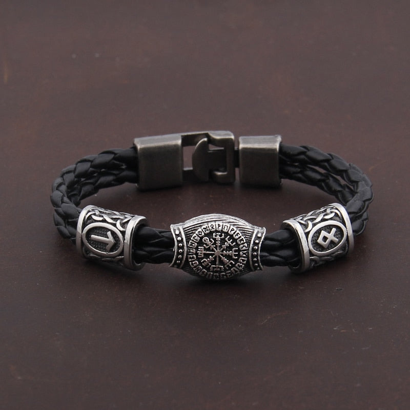 Silver plated Rune Bracelet/armband Vegvisir Viking Compass