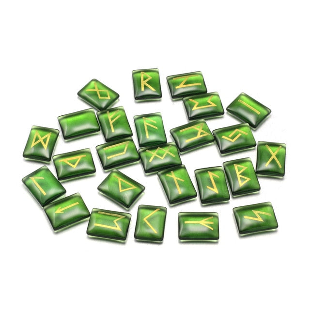 Photo of Green set of 25 Beautiful elder futhark nordic viking runes