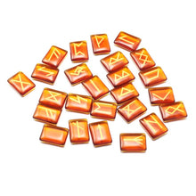 Load image into Gallery viewer, Photo of orange-brown set of 25 Beautiful elder futhark nordic viking runes