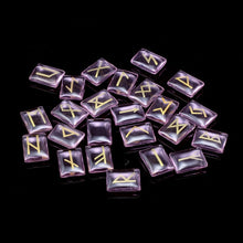 Load image into Gallery viewer, Photo of translucent amethyst set of 25 Beautiful elder futhark nordic viking runes