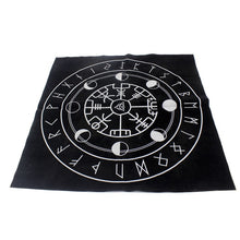 Load image into Gallery viewer, Photo of wheel of fortune nordic runes tablecloth
