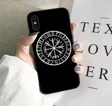 Load image into Gallery viewer, Nordic/Viking Rune iPhone case - features Vegvisir which symbolises protection, strength and 'wayfinding' or finding your way