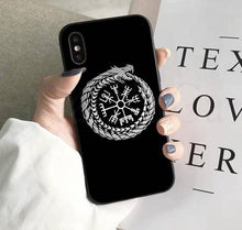 Load image into Gallery viewer, Photo of iPhone case with Ouroboros infinity serpent