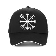 Load image into Gallery viewer, Futhark Nordic Viking Rune Baseball cap featuring the Viking or Nordic Compass Vegvisir