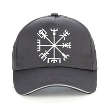 Load image into Gallery viewer, Photo of Grey Cap featuring Viking or Nordic Compass Vegvisir