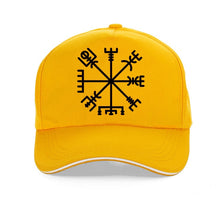 Load image into Gallery viewer, Photo of Yellow Cap featuring Viking or Nordic Compass Vegvisir
