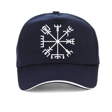 Load image into Gallery viewer, Futhark Nordic Viking Rune Baseball cap featuring the Viking or Nordic Compass Vegvisir - various colors