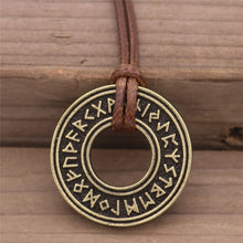 Load image into Gallery viewer, Photo of Nordic Viking rune necklace and amulet bronze look