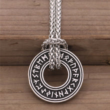 Load image into Gallery viewer, Photo of Nordic Viking rune necklace and amulet with silver chain