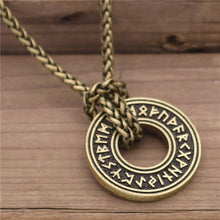 Load image into Gallery viewer, Photo of Nordic Viking rune necklace and amulet bronze look and bronze chain