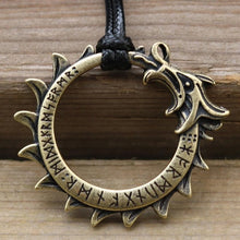 Load image into Gallery viewer, Photo of bronze Ouroboros nordic viking necklace amulet