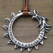 Load image into Gallery viewer, Photo of Silver Ouroboros nordic viking necklace amulet with brown tie
