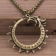 Load image into Gallery viewer, Photo of bronze Ouroboros nordic viking necklace amulet with bronze chain