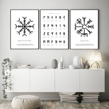 Load image into Gallery viewer, Photo of three Nordic Viking Rune canvas wall art posters
