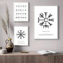 Load image into Gallery viewer, Photo of three Nordic Viking Rune canvas wall art posters version 2