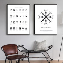 Load image into Gallery viewer, Photo of two Nordic Viking Rune canvas wall art posters