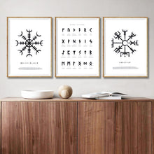 Load image into Gallery viewer, Photo of three Nordic Viking Rune canvas wall art posters version 3