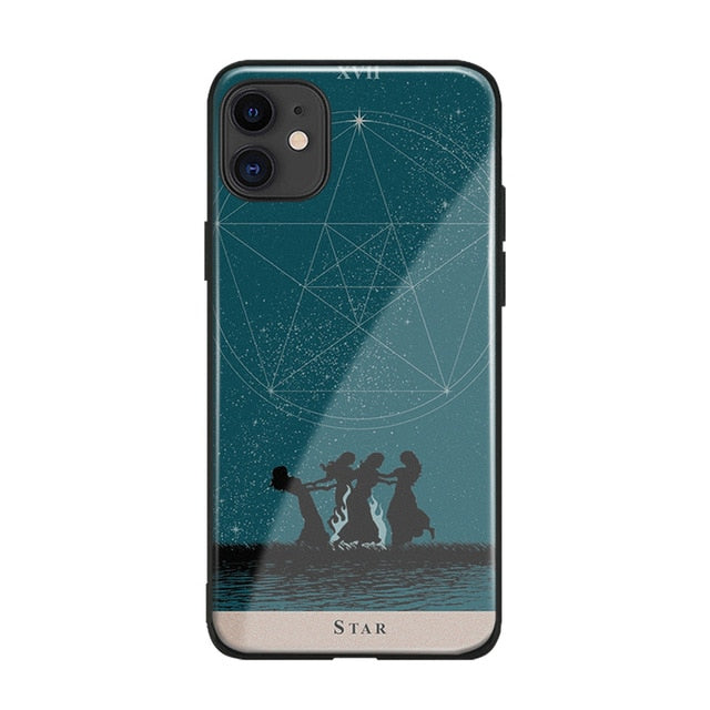 Photo of iPhone Tarot themed case cover featuring the Star 17 card for new beginnings - it has a blue green night sky with four women dancing around a fire