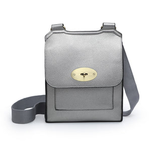 Medium Cross Body Satchel Bag | Metallic Grey