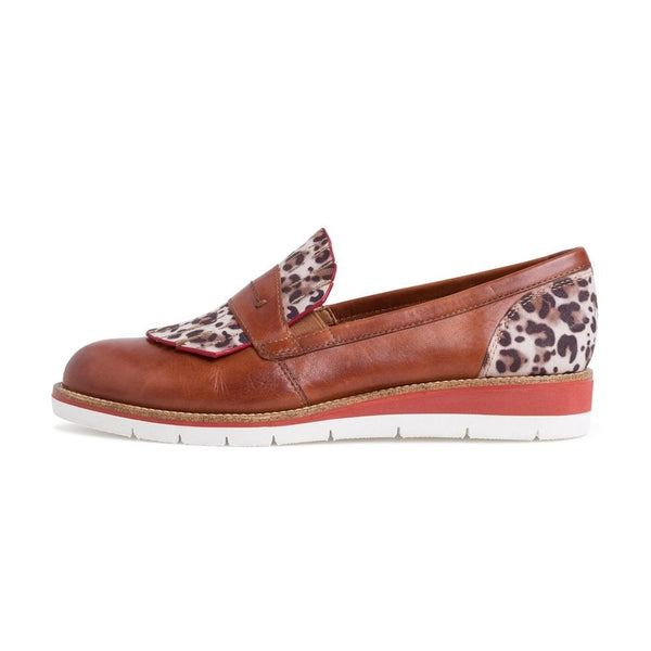 Leather Fringed Loafer | 24301 | Tan Leopard