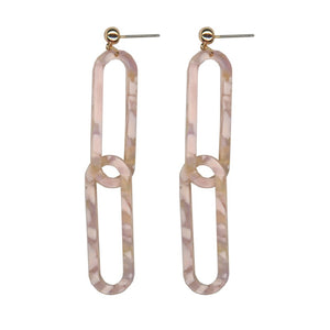 Lina Resin Link Earrings | Nude Pink