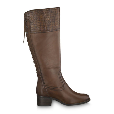 Tamaris Long Leather Boot 25543 | Cognac