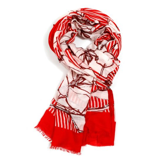 Floral and Stripe Scarf | Red