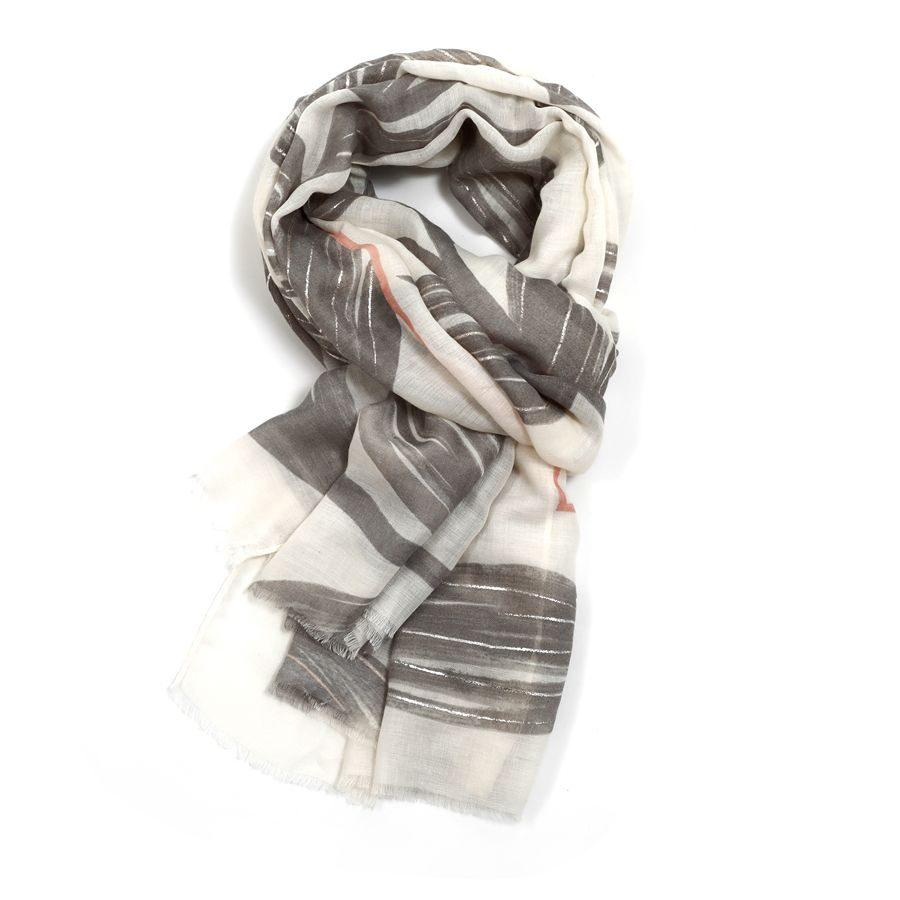 Tropical Leaves Scarf | Grey