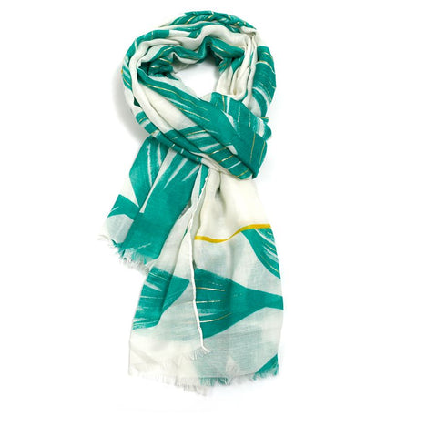 Tropical Leaves Scarf | Green