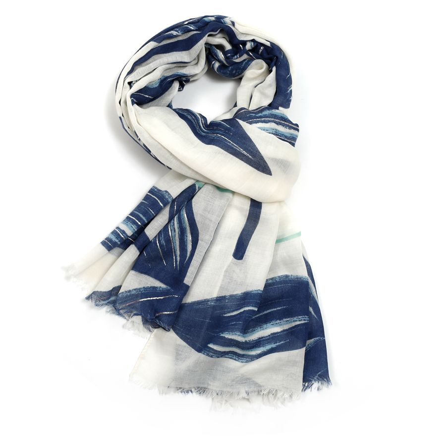 Tropical Leaves Scarf | Blue
