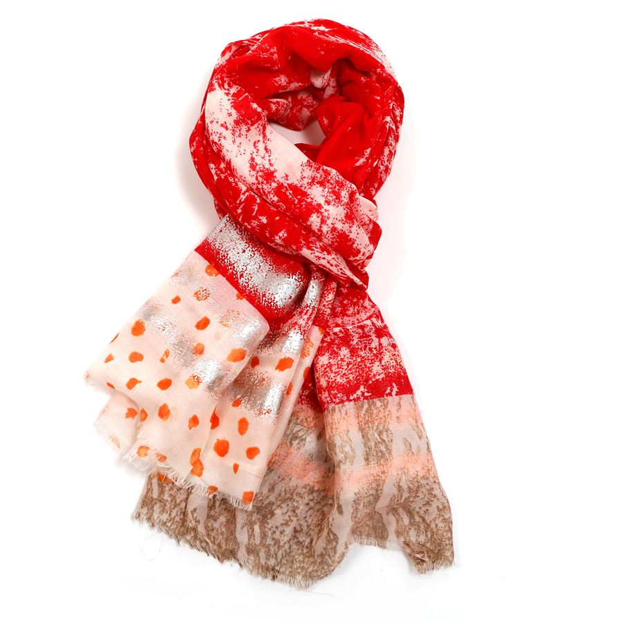 Distressed Effect Scarf | Red