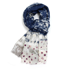 Distressed Effect Scarf | Navy