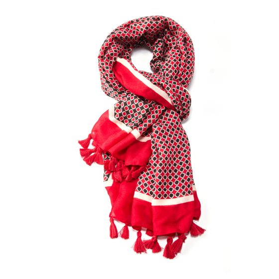 Geometric Tassel Scarf | Red