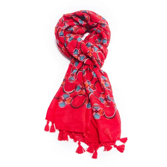 Geometric Circle Print Scarf | Red