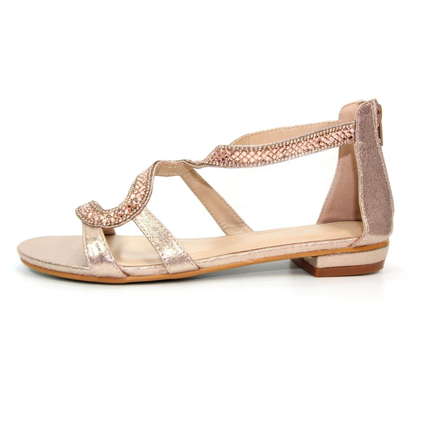 Arabia 'S' Strap Sandal | Rose Gold