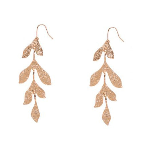 Miriam Long Textured Leaf Earrings