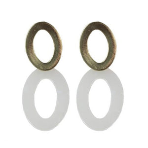 Mila Elongated Shape Resin Earrings | Gold/White