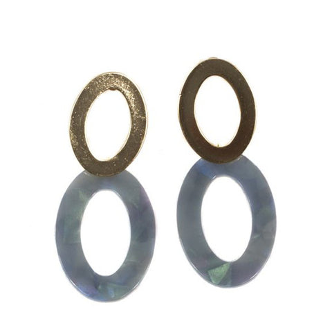 Mila Elongated Shape Resin Earrings | Gold/Grey