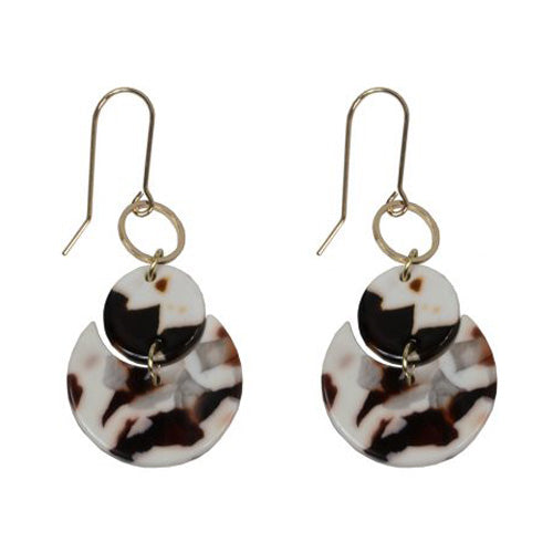 Constance Moon Cycle Resin Earrings | White/deep red