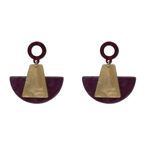 Aimee Statement Resin Abstract Earrings | Purple/Brown