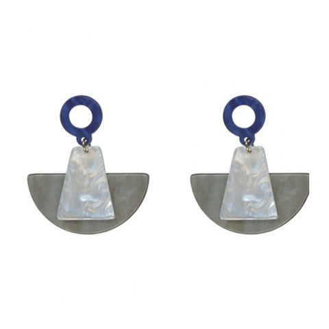 Aimee Statement Resin Abstract Earrings | Grey/Blue